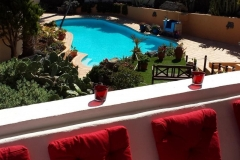 Secretchill- Balcony view to pool area